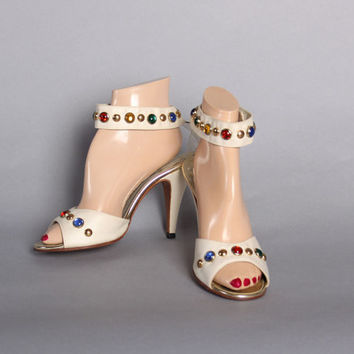 70s STUDDED Ankle Strap Heels / Peep Toe Off White Brass Stud Sandals, 7