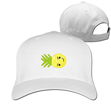 DETED Fashion Funny Emoji Pineapple Trucker Hat For Unisex White
