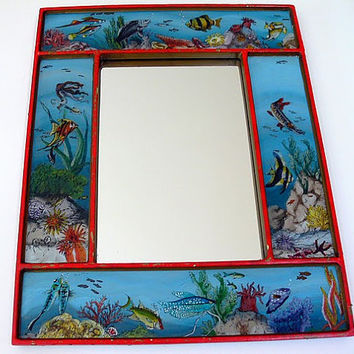 Fabulous Vintage Fish Mirror TREASURY ITEM by EitherOrFinds