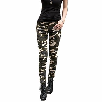 Tengo Fashion Camouflage Pants Women Skinny Jeans Large Size Pencil Pants Stretch Slimming Close Fitting High Waist Jeans