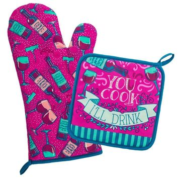 You Cook, I'll Drink Pot Holder Set By Wit