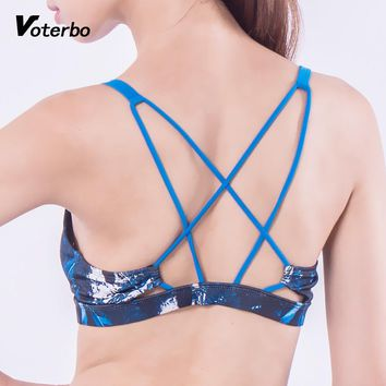 Voterbo Feathers Printed Sports Bra Professional Gym Tank Top Fitness Push Up High Elasticity Active Wear Breathable Yoga Sports
