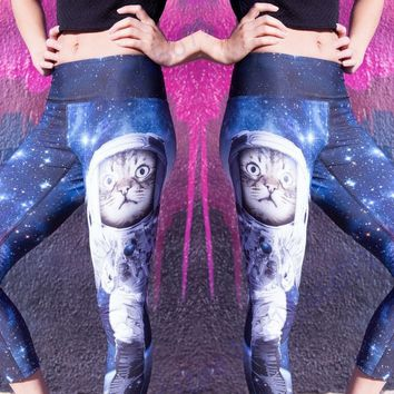 Blue Starry Sky Space Cat Running Tights Fitness Capris Leggings Kawaii Kitty Astronaut Women Cropped Yoga Pants Athletic Tights