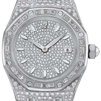 Audemars Piguet Royal Oak Diamond Pave White Gold Ladies Watch