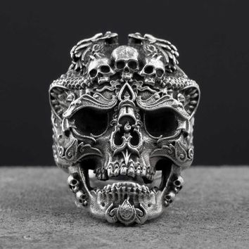 925 Sterling Silver Skull open rings for man Vintage jewelry gift for your boyfriend