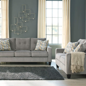 2 pc Bizzy collection smoke fabric upholstered sofa and love seat set with squared arms