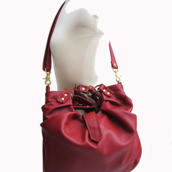 Red Leather Satchel, Pleated Purse, Versatile leather bag, Convertible 3 Way Bag, Stylish Purse - Choice of Silver, Gold, or Bronze Hardware