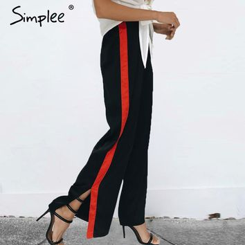 Simplee Elegant patchwork loose women pants High waist split long pants female Summer streatwear black side stripe casual pants