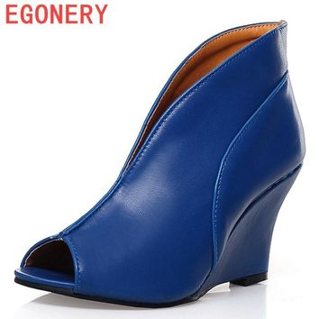 EGONERY shoes 2016 new Women's Sexy High Heels Peep Toe Pumps Fashion Wedges Shoes Wom