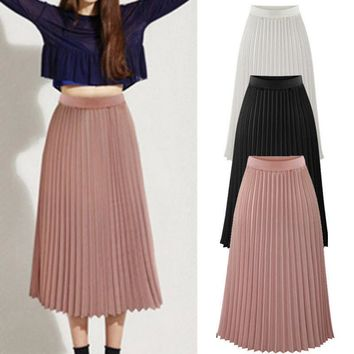 Womens Solid Pleated Elegant Midi Elastic Waist Maxi Skirt