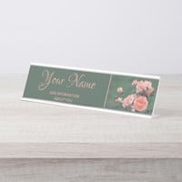 Beautiful pink roses on a natural green background desk name plate