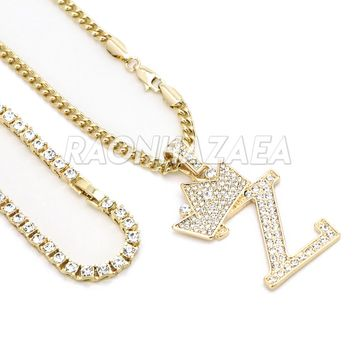 Iced Out Crown Z Initial Pendant Necklace Set