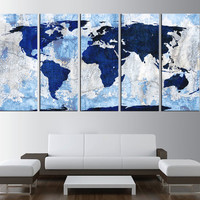 world map canvas art print, blue world map wall art, large canvas print, extra large wall art, vintage world map canvas art 5 panel t407