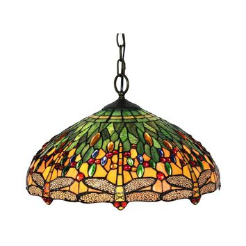 Amora Lighting Home Decorative AM1027HL18 Tiffany Style Dragonfly Hanging Lamp 18""