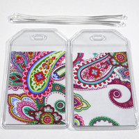 Luggage Tags Set of 2 Punch of Paisley