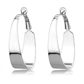 Effortless - Women's Rhodium Plated Fashion Hoop Earrings