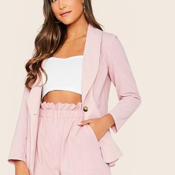 Shawl Collar Button Fly Blazer & Paperbag Waist Shorts Set