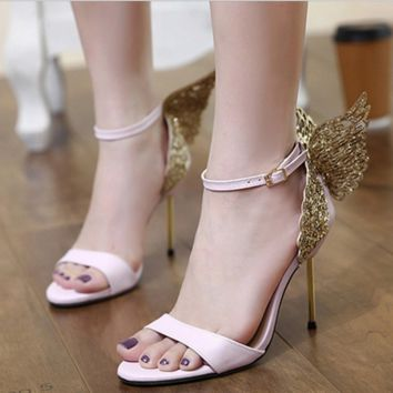 Fashion women hot Diamond Butterfly High-heeled Sandals black