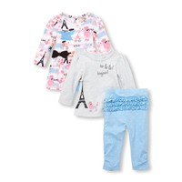 Baby Girls Paris Puppy Dress, Tunic and Leggings 3-Piece Playwear Set