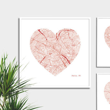 Paris Heart for a City Map Print