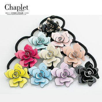 Chaplet 2016 New Rose Flower Rubber Bands Fashion Women Hair Accessories Jewelry Headbands Girl Elastic Hair Bands Free Shipping