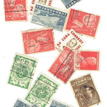 15 Vintage Cuba Postage Stamps Supplies Scrapbook Art Card Stationery Decoration Decoupage Note Cards Journal Cigar Box World Travel Journal