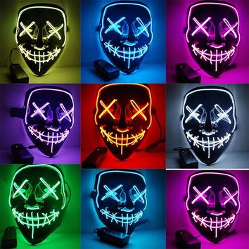 Halloween LED Party Masks Light Up Mask The Purge Election Year Cool Funny Masks Festival Glow In Dark Cosplay Costume Supplies