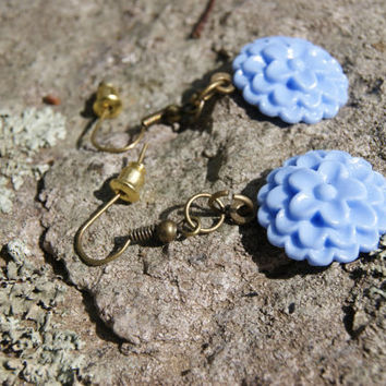 Elegant Blue Flower Dangle Earrings by CrimsonRoadCrafts on Etsy