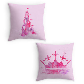 Pink Fairy Tale Throw Pillow, Magical Nursery, Gift for Girls, 16x16 Cushion Cover, Pink Room Decor