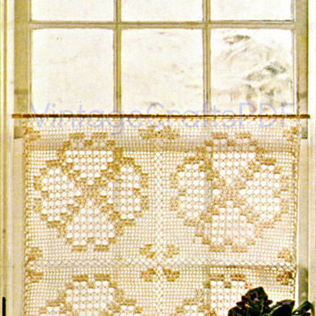 FILET CAFE CURTAIN 1970s Vintage Crochet Pattern great for home livingroom bedroom kitchen bathroom as a privacy curtain or window-free gift