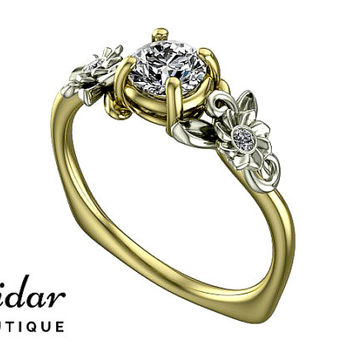 Flower Engagement Ring,Unique Engagement Ring,Two Tone Gold Ring By Vidar Botique,Yellow Gold Engagement Ring,Leaves Ring,Vintage Ring,Fine