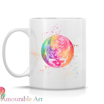 Coffee Mug, Ceramic Mug, Grateful Dead Mug, Unique Coffee Mug, 11oz or 15oz, Watercolor Art Print Mug, Two-Sided Print, Coffee Lover Gift