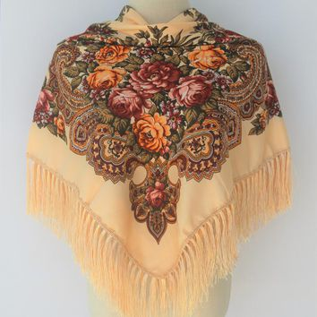 HOT Sale Russian Brand New Fashion Big Size Square Scarf Cotton Long Tassel Print Scarf In Spring Winter Shawl For floural Women