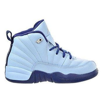 Beauty Ticks Air Jordan Retro 12 Gp Girls Preschool Basketball Shoes Blue/metallic Silver 510816-41