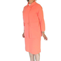 1960s Knit 2 Piece Skirt Set by Puccini Wool Jacket Skirt Set in Salmon Corall Color. Mad Men Fashion.