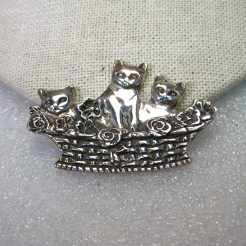 "Vintage Sterling Silver Cat & Kittens in a Basket Brooch, signed ND, 2"" Wide, 17.10 grams"
