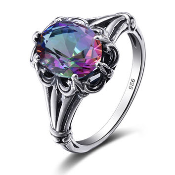 Mystic Fire Rainbow Crystal Engagement Wedding Ring Real 925 Sterling Silver For Women Band Wedding Promise Rings Bridal Jewelry