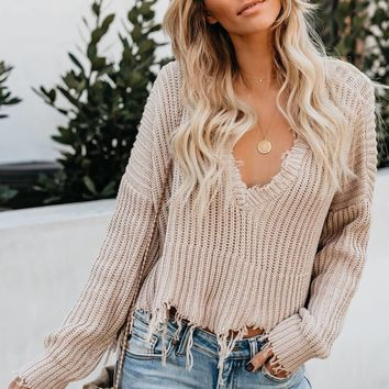 Cute Apricot Tainted Love Cotton Distressed Sweater