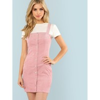 Thick Strap Button Up Front Cord Dress