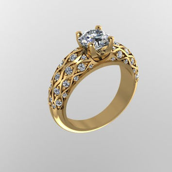 Diamond Engagement 14K Yellow Gold Ring with 6.5mm Round Brilliant Moissanite Ctr - V1040