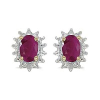 14K Yellow Gold Oval Ruby and Diamond Earrings (1.20ct tgw)