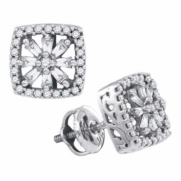 14kt White Gold Women's Baguette Round Diamond Square Stud Earrings 1-3 Cttw - FREE Shipping (US/CAN)