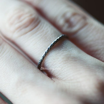 Size 5, Oxidized Sterling Silver Crinkle Ring, Handmade Jewelry, Stacking Ring, Simple Rings, Thin Ring, Minimalist Ring, Ready To Ship!