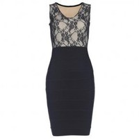 Bqueen Vneck Lace Patch Bandage Dress H116H - Designer Shoes|Bqueenshoes.com