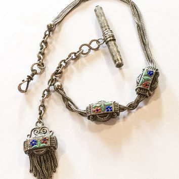 French Pocket Watch Fob Chain, Enamel, Sterling Silver, Victorian, Vintage Jewelry