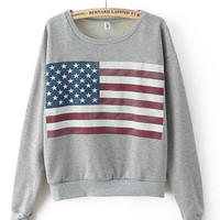 Flag Print Long Sleeve Sweatshirt
