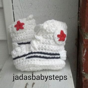 Crochet Converse Infant/Baby Booties All White and Red