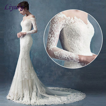Elegant Appliques Lace Boat Neck Mermaid Wedding Dress Brush Train Full Sleeves Beading Embroidery Trumpet Bride Dress Liyuke