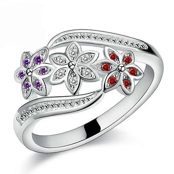 Funny Design Three Color CZ Flower Ring for Women Girls Fashion 925 Sterling Silver Ring Wedding Lady Jewelry Size 7 8 9