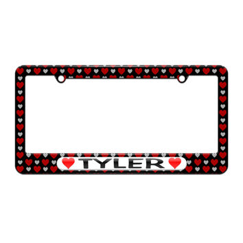 Tyler Love with Hearts - License Plate Tag Frame - Hearts Love Design